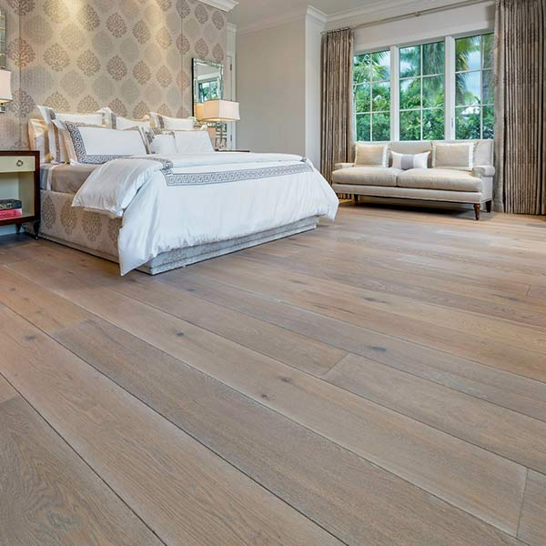 Wide plank hardwood flooring from Legno Bastone.